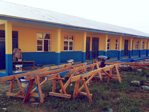 Work in Progress for the Construction of the School Block
