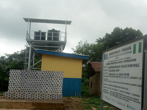 A Fully Functional Constructed Solar Power Borehole with Overhead Tanks and Fully Installed Taps for the Community